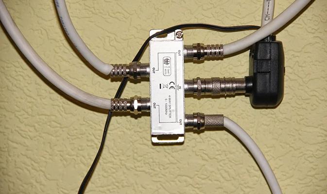 Подключенный разветвитель на 4 телевизора