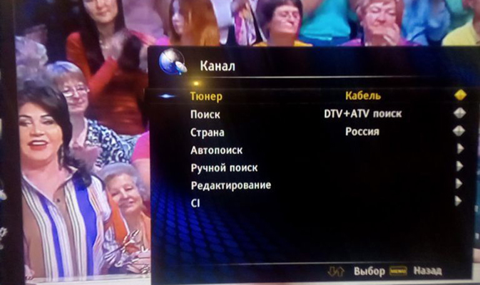 Настройка цифровых каналов на телевизорах Ролсен